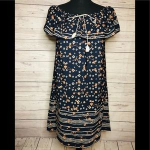 Women's Dark blue Floral print Dress